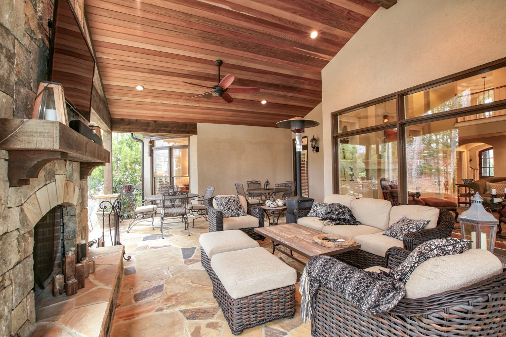 An outdoor dining porch renovation in dunwoody