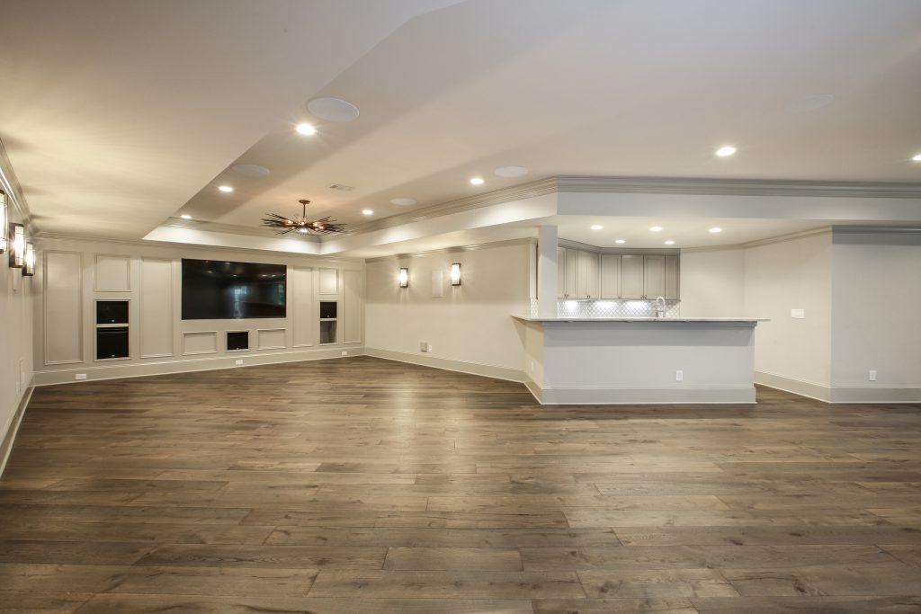 A bar built into a basement remodel