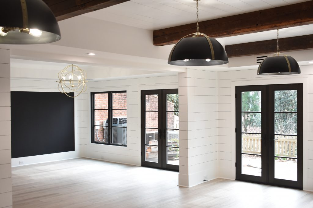 A view in a renovation basement