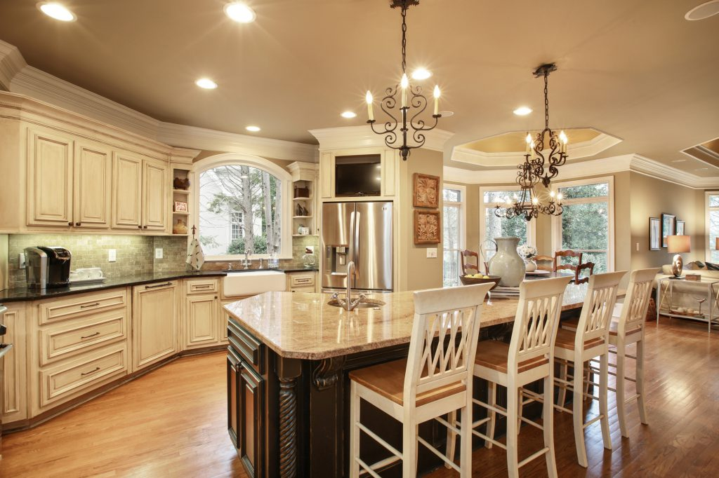 A home with a custom kitchen remodel
